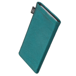 Made in Germany Fine nappa leather pouch case cover with MicroFibre lining for display cleaning fitBAG Groove Turquoise custom tailored sleeve for Samsung Galaxy A3