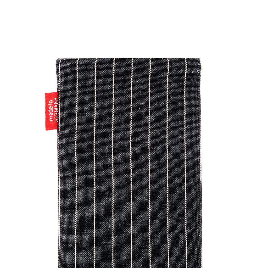 Note 10 Plus fitBAG Twist Schwarz Handytasche Tasche aus Nadelstreifen-Stoff mit Microfaserinnenfutter f/ür Samsung Galaxy Note10+ H/ülle mit Reinigungsfunktion Made in Germany